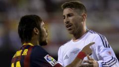 Indosport - Neymar dan Sergio Ramos ketika membela klub masing-masing.