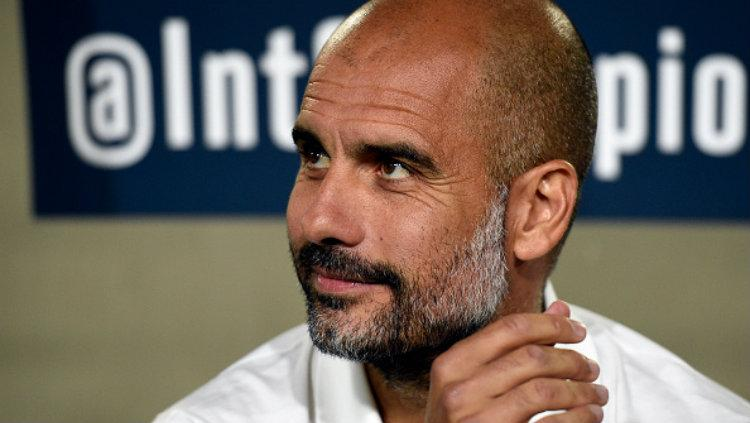 Pelatih Manchester City, Pep Guardiola. Copyright: Kevork Djansezian/Getty Images