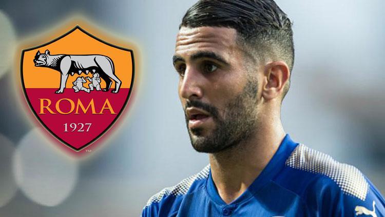 Gelandang Leicester City, Riyad Mahrez dikabarkan tengah tes medis di AS Roma. Copyright: INDOSPORT