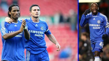Tiga legenda Chelsea, Didier Drogba (kiri), Frank Lampard (tengah), dan Claude Makelele diprediksi akan mengisi jajaran kepelatihan The Blues. - INDOSPORT