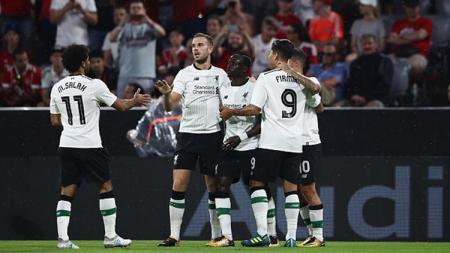 Selebrasi pemain Liverpool saat Sadio Mane mencetak gol ke gawang Bayern Munchen. - INDOSPORT
