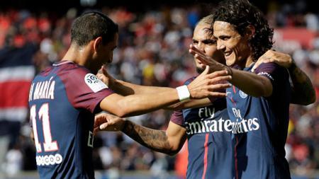 Selebrasi para pemain PSG usai mencetak gol ke gawang Amiens. - INDOSPORT