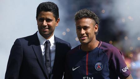 Presiden PSG, Nasser Al-Khelaifi dan Neymar. - INDOSPORT
