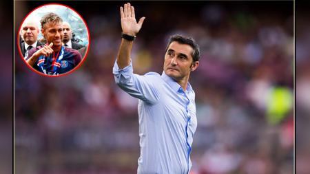 Ernesto Valverde, pelatih Barcelona (insert: Neymar di PSG). - INDOSPORT