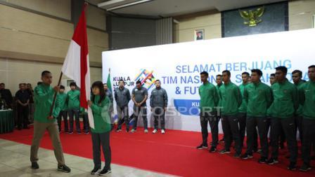 Suasana pelepasan Timnas Futsal Putri dan Timnas U-22.