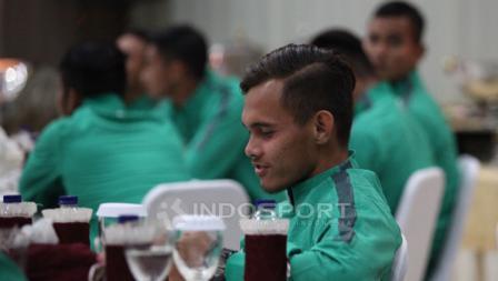 Rezaldi Hehanusa saat acara pelepasan Timnas U-22.