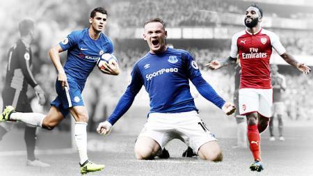 Alvaro Morata, Wayne Rooney, dan Alexandre Lacazette. - INDOSPORT