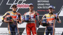 Marc Marquez, Andrea Dovizioso, dan Dani Pedrosa di podium GP Austria 2017.