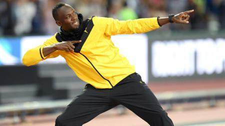 Usain Bolt selebrasi di hadapan 56 ribu pendukungnya. - INDOSPORT