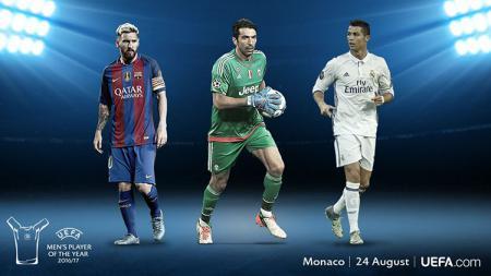 Messi, Buffon dan Ronaldo calon peraih pemain terbaik Eropa 2017. - INDOSPORT
