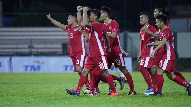 Kegembiraan skuat Filipina usai kalahkan Kamboja 2-0 di Grup A SEA Games 2017. Copyright: the-afc.com