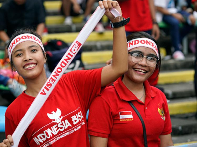 Suporter Indonesia di SEA Games 2017. Copyright: Getty Images