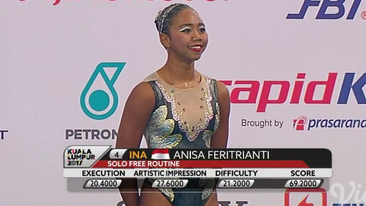 Atlet renang indah Indonesia, Anisa Feritrianti. Copyright: INDOSPORT