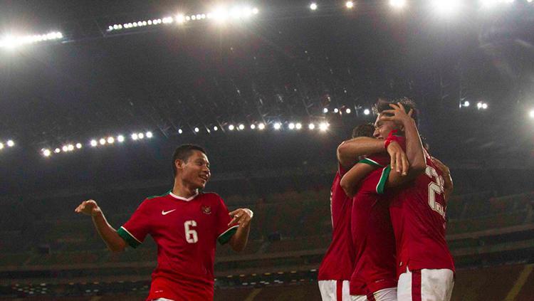 Evan Dimnas (kiri) saat merayakan gol Timnas Indonesia ke gawang Filipina Copyright: Dokumentasi PSSI