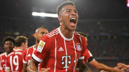 Corentin Tolisso merayakan gol perdananya bersama Munchen. - INDOSPORT