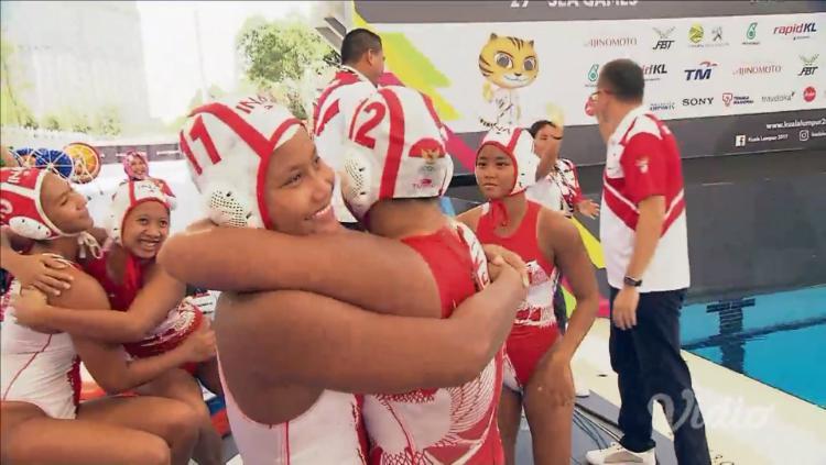 Selebrasi Timnas Polo Air Putri Indonesia di SEA Games 2017. Copyright: INDOSPORT