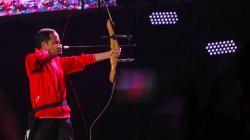 Aksi Presiden Joko Widodo saat menghadiri acara Count Down Asian Games 2018.