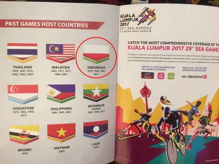 Bendera Kontingen Indonesia terbalik. Copyright: twitter@imam_nahrawi