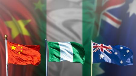Bendera China, Nigeria, dan Australia. - INDOSPORT