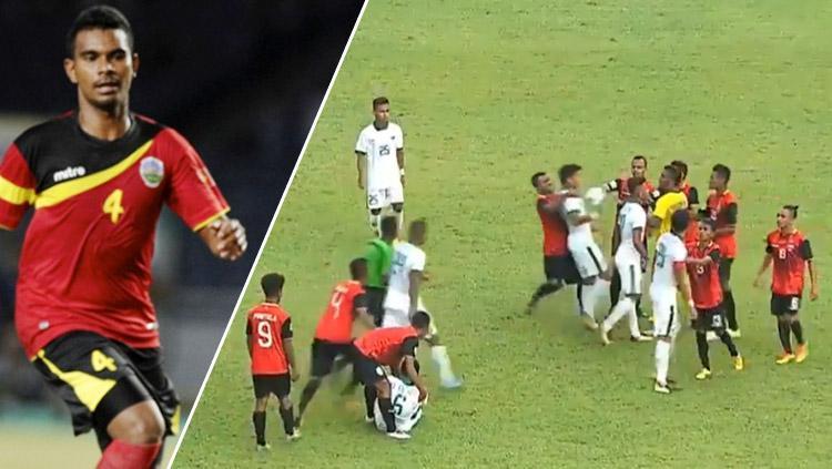 Terjadinya kericuhan antar pemain karena adanya kekerasan Filipe Oliveira terhadap Evan Dimas. Copyright: INDOSPORT/Istimewa