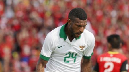 Marinus Wanewar merayakan gol Timnas Indonesia ke gawang Timor Leste. - INDOSPORT