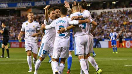 Skuat Madrid merayakan gol Bale. - INDOSPORT