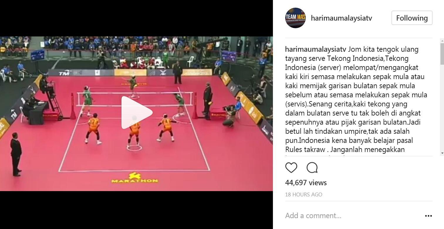 Netizen Malaysia anggap keputusan wasit sepak takraw sudah benar, sehingga aksi walk out timnas takraw putri Indonesia dianggap mengada-ada. Copyright: https://www.instagram.com/harimaumalaysiatv/