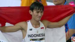 Hendro berhasil menyumbangkan medali emas di cabor jalan cepat 20 km.
