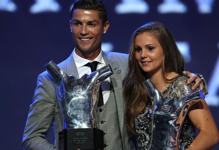 Cristiano Ronaldo dan Lieke Martens, dua pesepakbola terbaik Eropa 2017. Copyright: INDOSPORT