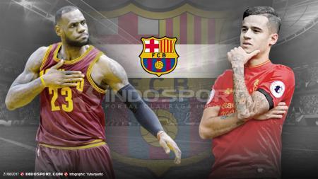Lebron James dan Philippe Coutinho. - INDOSPORT