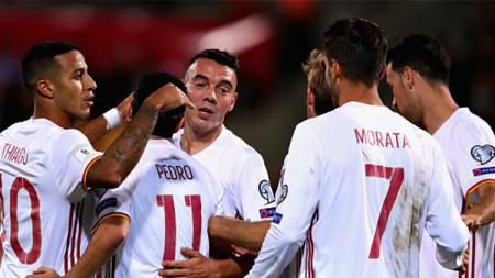 Spanyol sukses kalahkan Liechtenstein dengan skor telak. - INDOSPORT