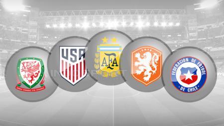 Logo Timnas Wales, Amerika Serikat, Argentina, Belanda, Chile. - INDOSPORT