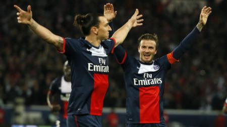 Zlatan Ibrahimovic dan David Beckham saat masih memperkuat PSG. - INDOSPORT