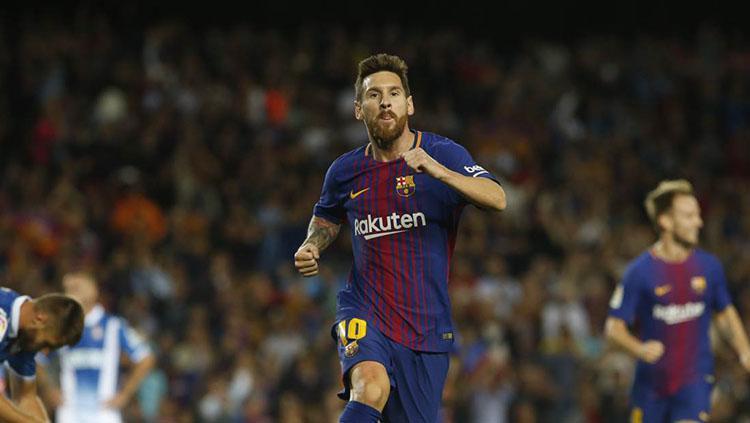 Lionel Messi mencetak 2 gol di babak pertama saat Barcelona menjamu Espanyol. Copyright: Barcelona FC