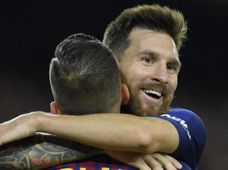 Lionel Messi mencetak hattrick saat Barcelona kalahkan Espanyol. Copyright: Barcelona FC