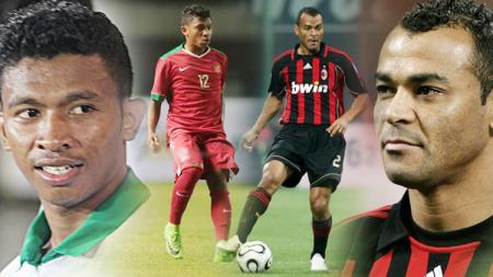Rifad Marasambessy dan Cafu legenda AC Milan. - INDOSPORT