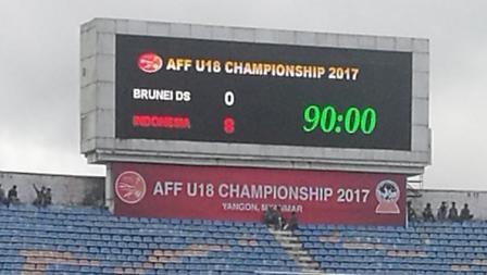 Papan skor Brunei 0-8 Indonesia AFF U-18.
