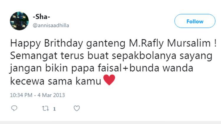 Jejak media sosial Rafly Mursalim. Copyright: Twitter