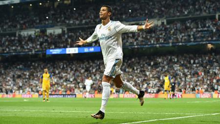 Selebrasi pemain megabintang Real Madrid, Cristiano Ronaldo usai menjebol gawang Apoel. - INDOSPORT