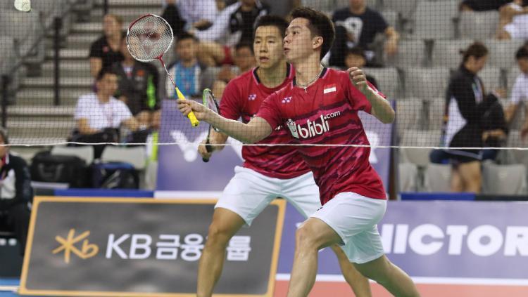 Kevin Sanjaya Sukamuljo/Marcus Fernaldi Gideon beraksi di perempatfinal Korea Open 2017. Copyright: Humas PBSI
