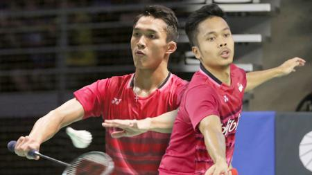 Jonatan Christie dan Anthony Ginting. - INDOSPORT