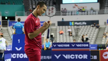 Jonatan Christie selebrasi usai menciptakan all Indonesian final. - INDOSPORT