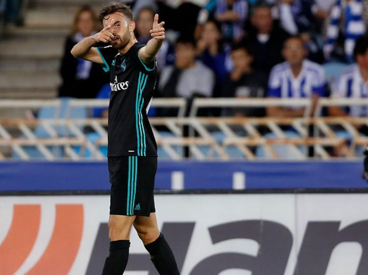 Pencetak gol pertama Madrid saat menghadapi Sociedad, Borja Mayoral. Copyright: Twitter Real Madrid
