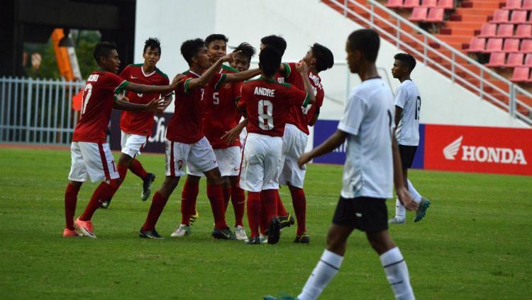 Timnas Indonesia U-16 Merayakan Gol ke Gawang Timor Leste Copyright: PSSI