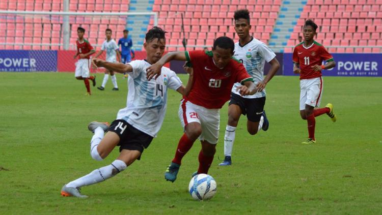 Striker TImnas Indonesia U-16, Amiruddin Bagus Alfikri, saat Melawan Timor Leste Copyright: PSSI