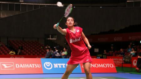 Gregoria Mariska Tunjung di babak kualifikasi Japan Open 2017. - INDOSPORT