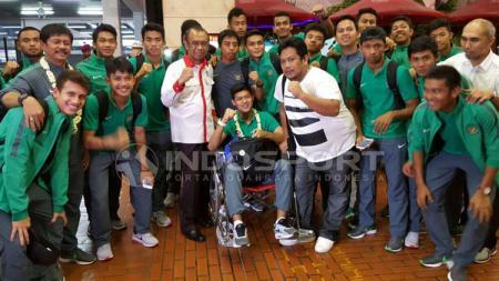 Timnas U-19 tiba di Indonesia. - INDOSPORT