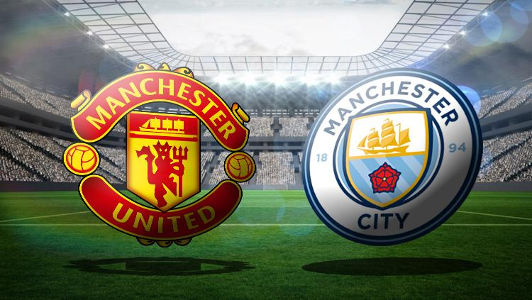 Logo Manchester United vs Manchester City. Copyright: Grafis: Eli Suhaeli/INDOSPORT