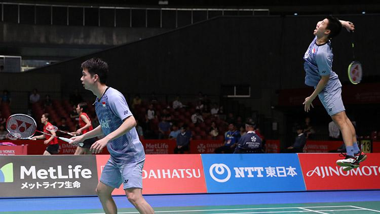 Pasangan ganda putra Indonesia, Marcus Fernaldi Gideon dan Kevin Sanjaya lolos ke semifinal. Copyright: HUMAS PBSI