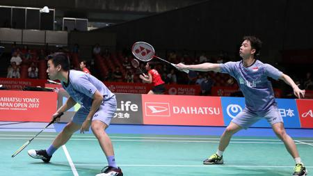 Pasangan ganda putra Indonesia, Marcus Fernaldi Gideon dan Kevin Sanjaya lolos ke semifinal. - INDOSPORT